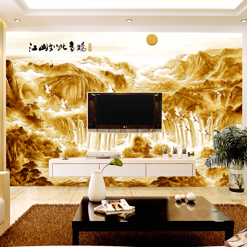 Seamless Large Mural Living Room Television Background Wall Paper Cloth 3D Non-woven Wallpaper Chinese Style So Many Concubine J