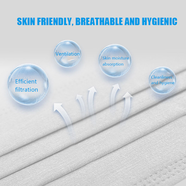 100pcs Disposable Protective Anti Flu Dust Pollution Mask Face Allergy Particulate Face Filter Air Purification 3