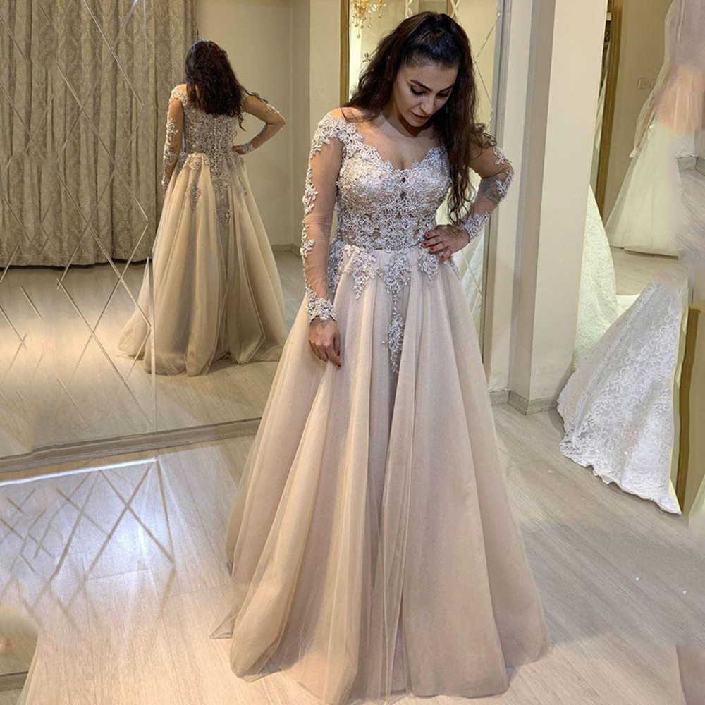 Sevintage 2020 V-neck Long Sleeves Evening Dresses Lace Appliques Formal Party Gown Arabic Muslim Prom Dress Abendkleider