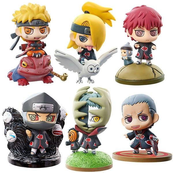 6pcs Naruto Sasuke Jiraiya  Action Figure Key chain Haku figures PVC key chains