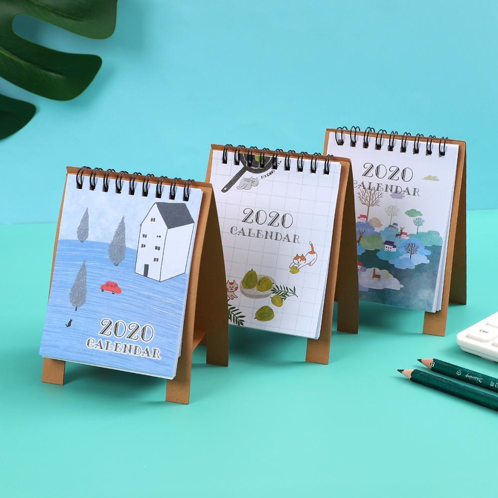 2020 Cute Cartoon Animal Cat Mini Table Calendars Desk Coil Calendar DIY Memo Pad DIY Planner Daily Scheduler School Supplies