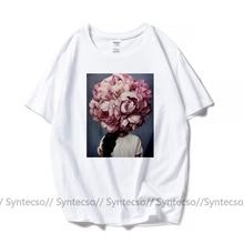 Старинные скандинавские искусство t-рубашки для женщин цветы длинный волос ТОП тройники эстетической негабаритных пара t рубашка дамы хлопок футболка