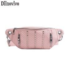 DIINOVIVO Rivet Waist Bag Leather Fanny Packs For Women Fashionable Chest Bum Banana Bags Female WHDV1079