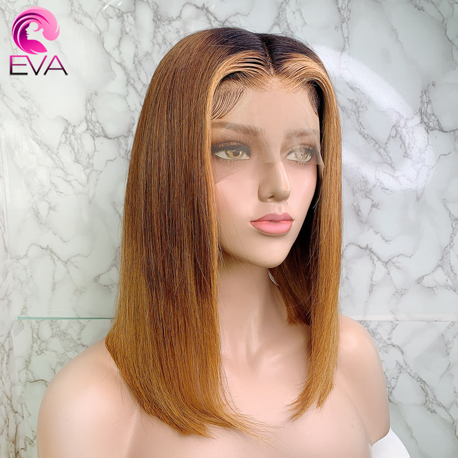 Eva Ombre Color 150% 13x6 Lace Front Human Hair Wigs Pre Plucked With Baby Hair Short Bob Straight Brazilian Remy Hair For Women