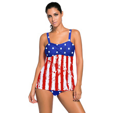 Split Skirt Large Size Dress Printed Tankini Strap Swimming 411181  2 piece swimsuit women beachwear  swimwear printed spaghetti strap blouson tankini with underwire