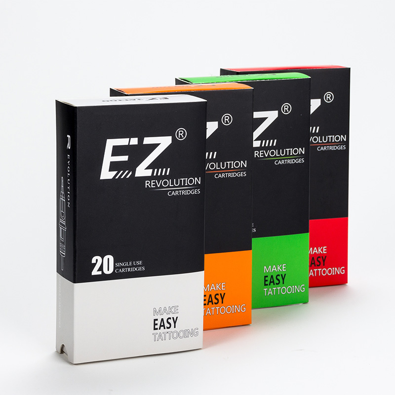 100 Pcs EZ Revolution Tattoo Cartridge Needle Kit For Cartridge System Machines RL RS M1 CM Assorted Sizes