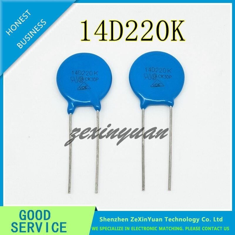 20PCS/LOT 14MM Varistor 14D220K 14D220 DIP 220KD14 Varistor Voltage 22V Metal Voltage Dependent Resistor