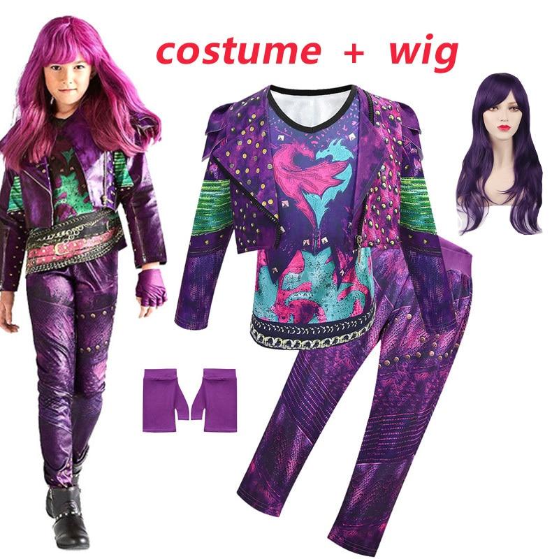 New Descendants 3 Mal Bertha Maleficent Gloves Live Evil Straight Blue Kids  Cosplay Wig + Dress Halloween Costume For Kids Girl