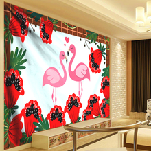 купить Red Flower Tapestry Wall Hanging Flamingo Wall Tapestry Tropical Plant Palm Leaves Bohemia Christmas Home Decor Hanging Cloth по цене 454.56 рублей