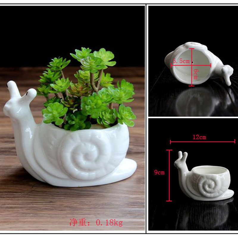 Wholesale Mini Ceramic Flower Pot Cartoon Snail Planter for Succulents Cactus Desktop Pots Home Garden Decor (4)