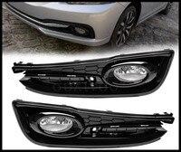 For 2013 2014 2015 Honda Civic 4Dr Sedan Bumper Fog Lights Lamps w/Switch Left+Right Clear Lens