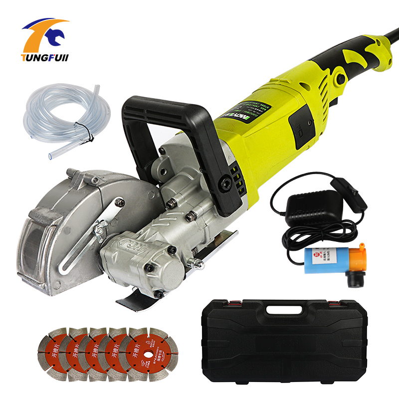 220V 4KW 115MM Blade Electric Wall Chaser Groove Cutting Machine Wall Slotting Machine 7500r//min with 5 pcs Blades