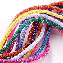 Corde de strass scintillante en résine, 1 mètre, 6mm, plusieurs couleurs, Tube, garniture pour décorations de mariage F0144