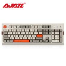 Ajazz Teclado mecánico de 104 teclas para videojuegos teclado Retro con retroiluminación RGB y cable, dos colores, PBT, tecla de bola, ergonómica, AK510