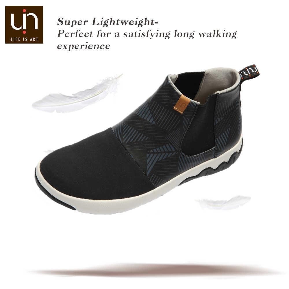 Botines de mujer negros de la serie UIN Dr Ken/botas planas casuales de Hombre Zapatos de gamuza de microfibra/exteriores deslizantes de cuero para Otoño/Invierno