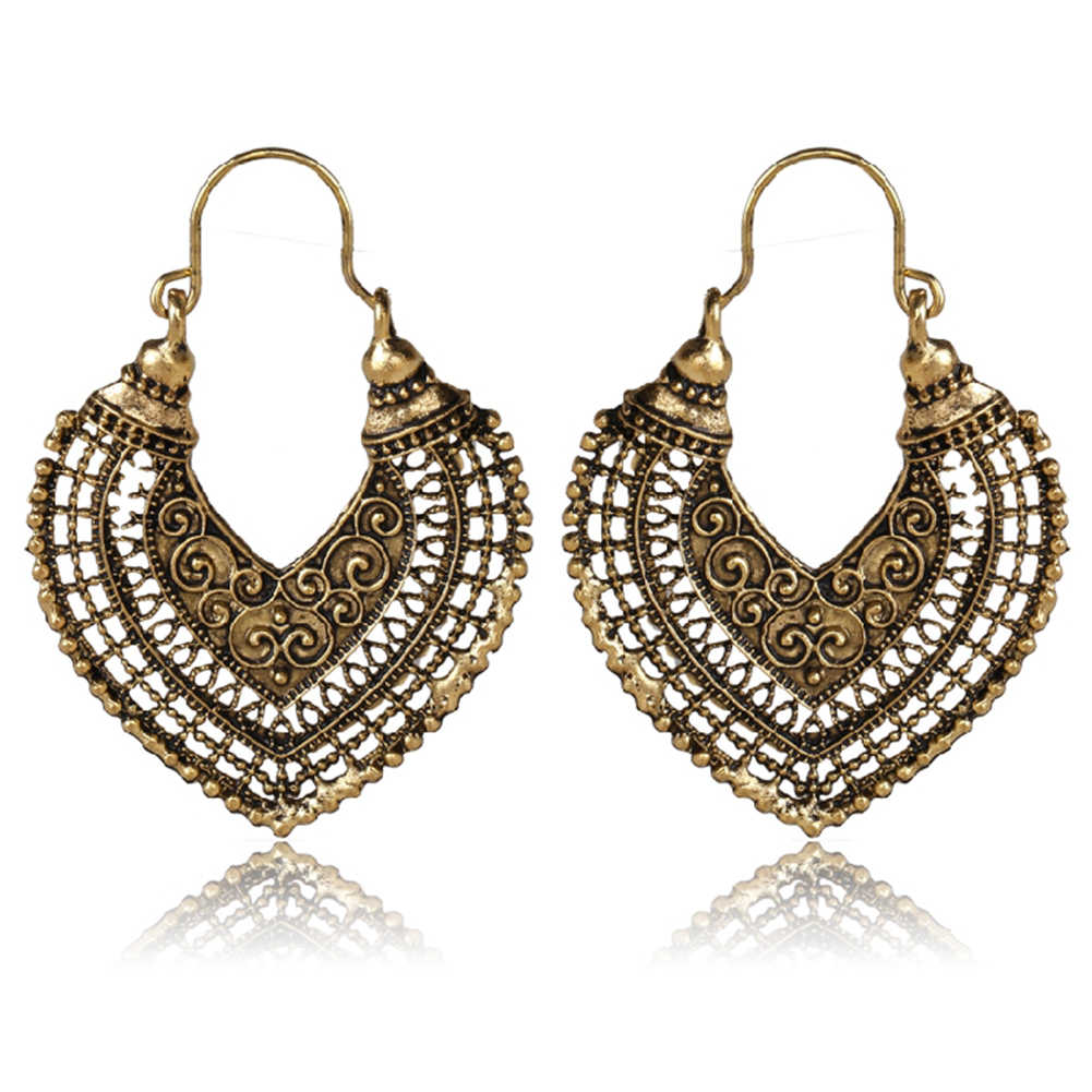 Women's Vintage Ethnic Openwork Heart Earrings Hollow Bohemian Gypsy Dangle Earrings Indian Fashion Jewelry Trible Accessories