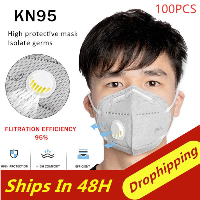 100pcs Reusable KN95 Mask with Respiration Valve with 6 Layers Filter for Protection from Flu 3