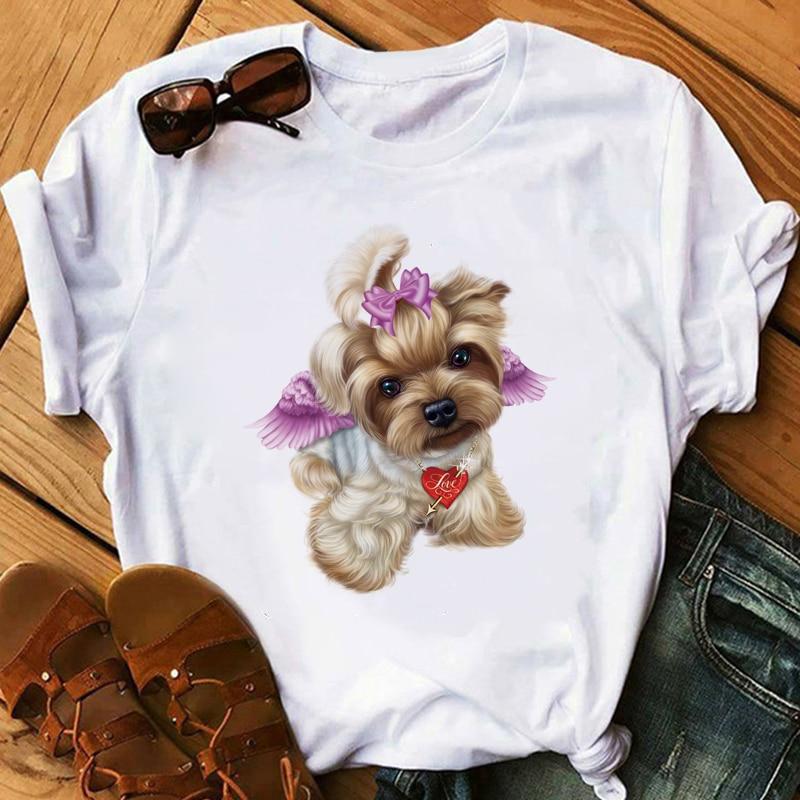 women's t-shirt Little Yorkshire Terrier Dog  Cola High heels T-Shirt  Lipstick  Lovely Angel Youkshire Print Girls Tee  Animal
