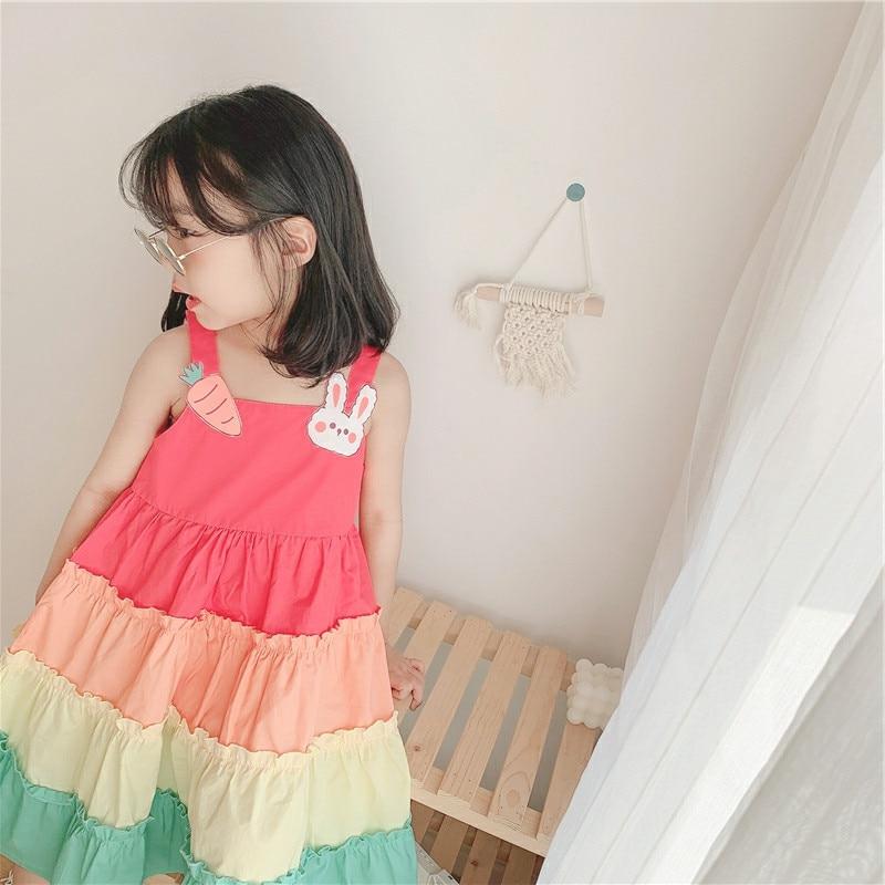 Летние платья для девочек с мультяшным рисунком, Радужное платье на бретелях, детское корейское платье thecake, платья для девочек с цветочным ...
