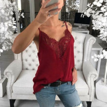 Women Lace Vest Strappy Sleeveless V Neck Loose Slim Fit Tank Tops for Summer B99(China)