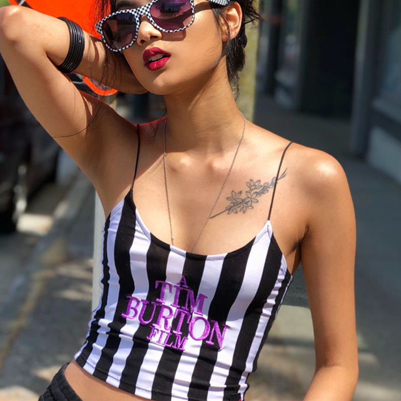 Letter Embroidery Women Sexy Crop Top 2018 Summer Sleeveless Skinny Camis Stripe Camisoles Tim Burton Woman Clothes