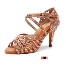 Женские Стразы туфли для латинских танцев на высоком каблуке