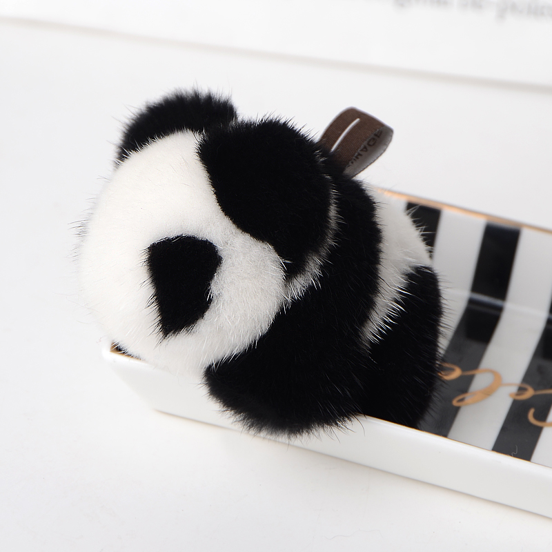 Mink fur panda doll pendant plush pendant bag pendant cute key chain lovely car accessories