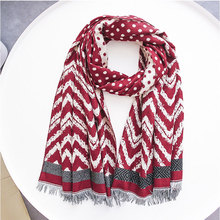 2019 Hijab Thickening Warm Colour Wave Point Cashmere Winter Women Scarves Shawl For Ladies Tassels New Design Wraps Kerchief