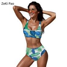 Push Up Bikini High Belt Swimsuit Female Floral Print Swimwear Women Bathing Suit High Waist Bikini Set Sexy Plus Size Biquini plus floral print bikini set