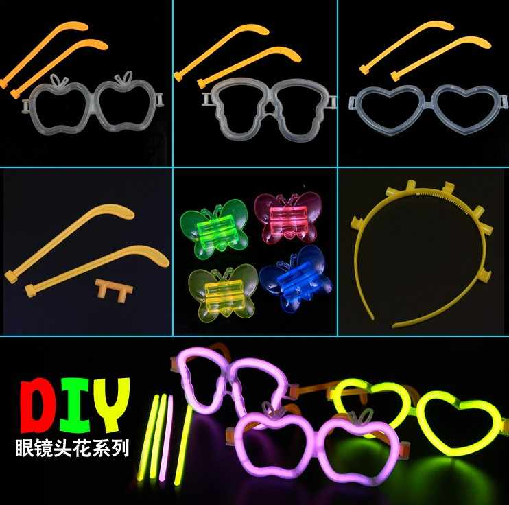 Fluorescent Stick  Rod Connector lantern, skeleton glasses, hair hoop, bracelet, butterfly,  connection head Accessories