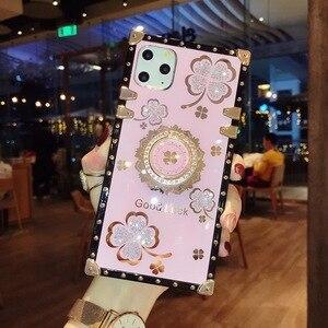 Image 5 - אופנה בלינג ריינסטון פרח Stand מחזיק כיכר מקרה טלפון עבור Samsung Galaxy S8 S9 S10 S20 FE S21 בתוספת הערה 8 9 10 20 אולטרה