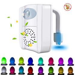 Lámpara de retroiluminación pir para inodoro air fresh, proyector de luz nocturna con sensor de luz inteligente enchufable de luz de noche uv, movimiento led de 16 colores