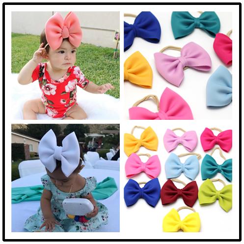 Fit All Baby Girls Large Bow Headband Newborn Infant Bebe Hairband Nylon Headbands For Children Headwear Kids Top Bow Hairbows