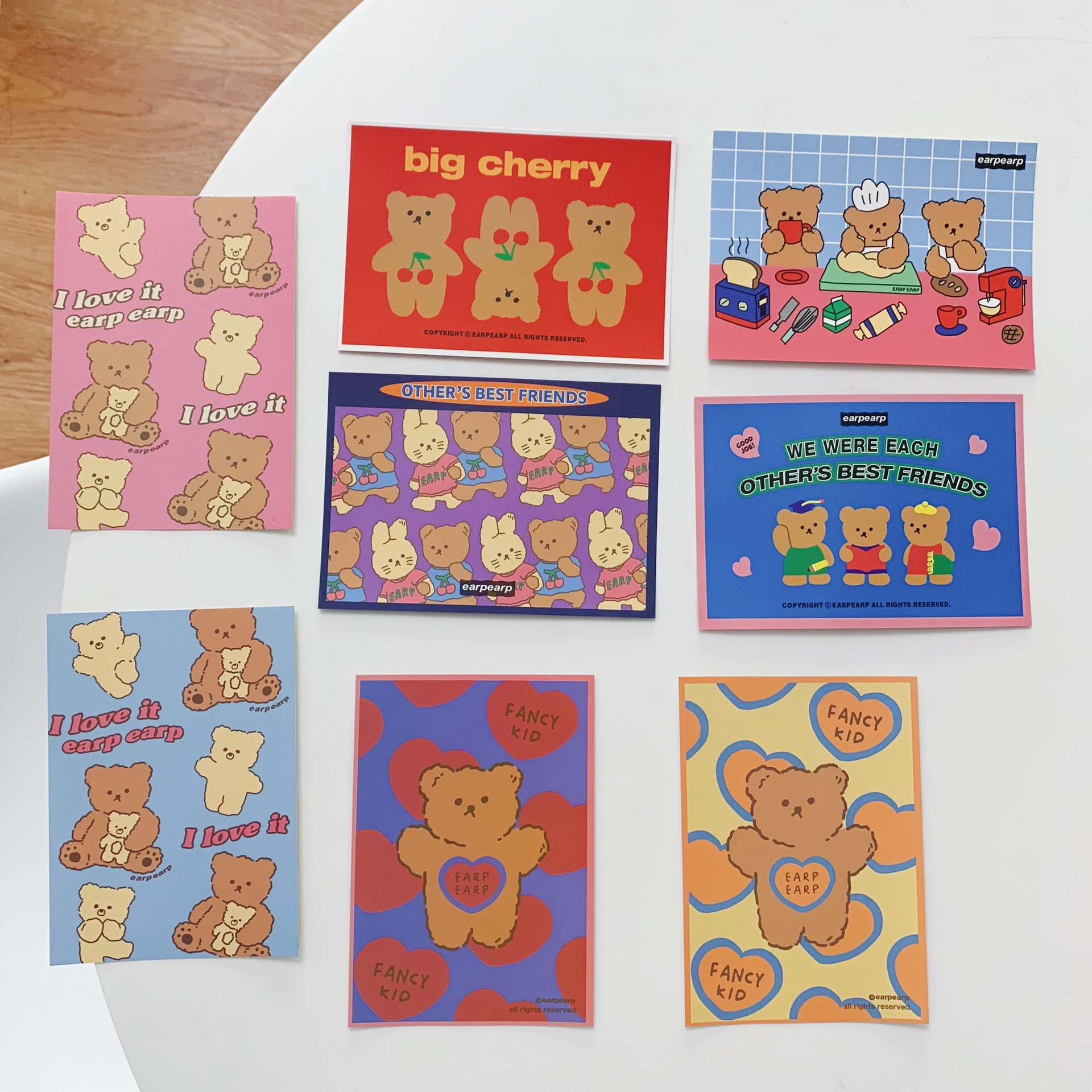 4 Sheets Cartoon Bear Cute Card Set Postcard Color Double Sided Creative Greeting Blessing Card Room