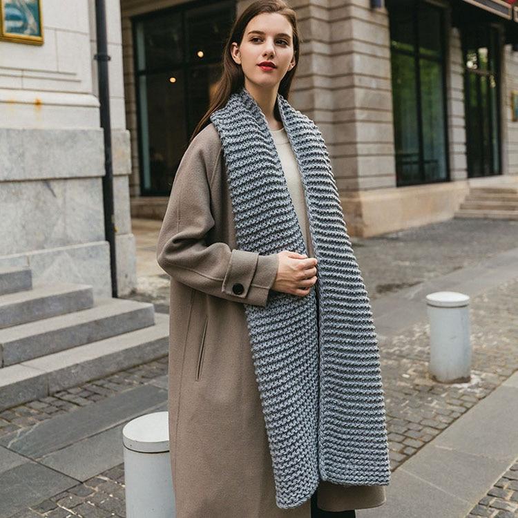 écharpe en laine épaisse femme automne et hiver