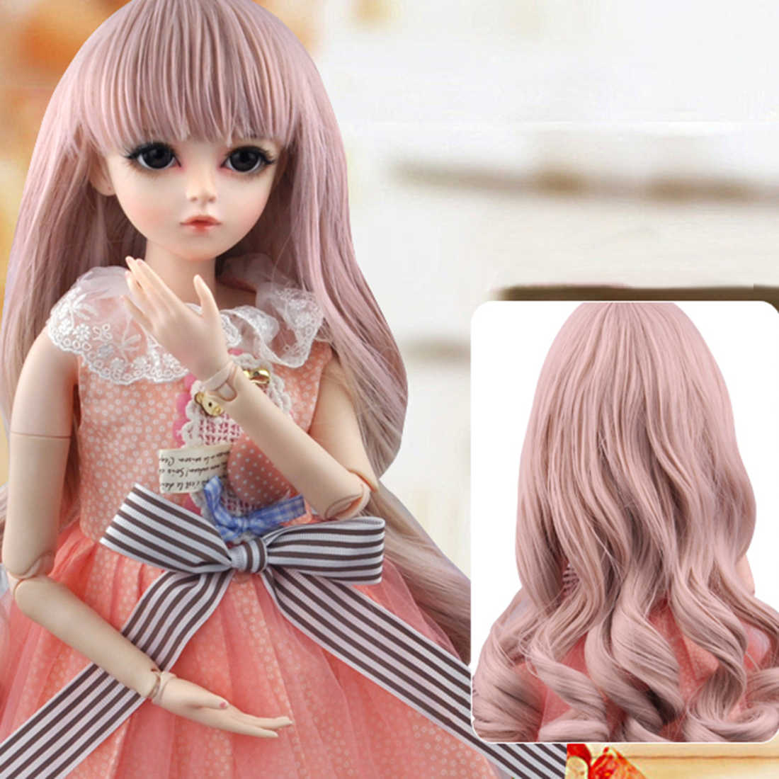 Removable Eyes 1//3 Ball Jointed Girl Mini BJD Doll Clothes Curly Wigs SET