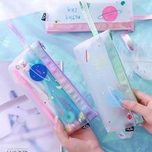 Buy pencil case pen bag pouch Transparent estojo escolar material kalem kutusu trousse stylo korean etui pennen kawaii kalemlik cute directly from merchant!
