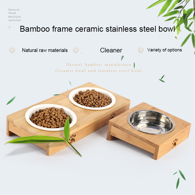 Cat Dog Feeders Bowl Stainless Steel Tableware font b Pet b font Food Water Bowl Bamboo