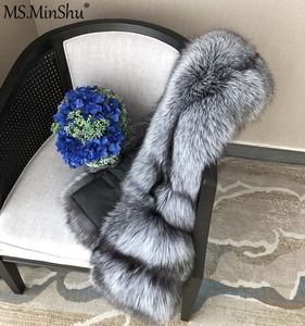 Image 3 - MS. minShu Vos Bont Sjaal Luxe Grote Vos Huid Sjaal Natuurlijke Fox Fur Stola Echte Fox Fur Shawl Pocket Mode Avond jurk