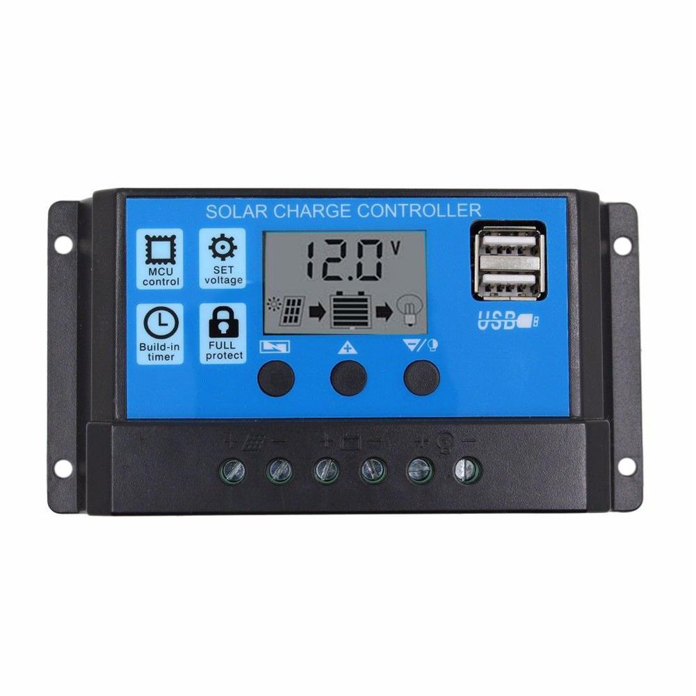 10A/20A/30A Auto Solar Charge Controller PWM Dual USB Output Solar Cell Panel Charger Regulator 12V24V Power HD LCD Display