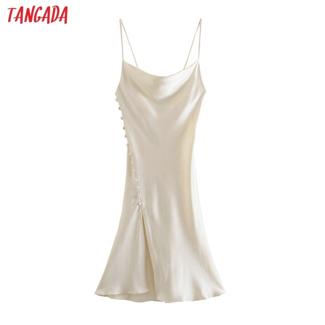 Tangada Women Beige Buttons Sexy Satin Long Dress Strap Sleeveless 2021 Fashion Lady Party Dresses Vestido 3H324 1