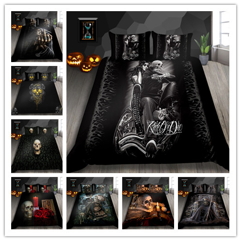 3D Women And Skull Bedding Sets Sugar Black Skull Halloween Style Bed Sheet Linen Cotton Blend Flower Skull Duvet Cover Set