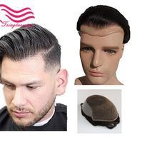 TsingtaowigHuman волосы прочные шиньоны Кружева Тонкий ПУ заменить мужчин t система для мужчин Toupees человеческие волосы шиньоны кружева и PU Q6base