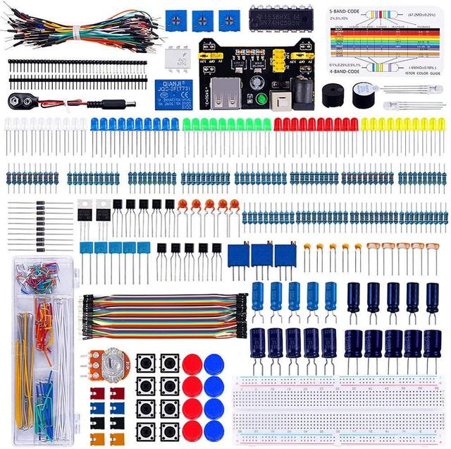 Keywish Electronics Component Super kit with Jumper wires,Color Led,Resistors,Register Card,Buzzer for Arduino