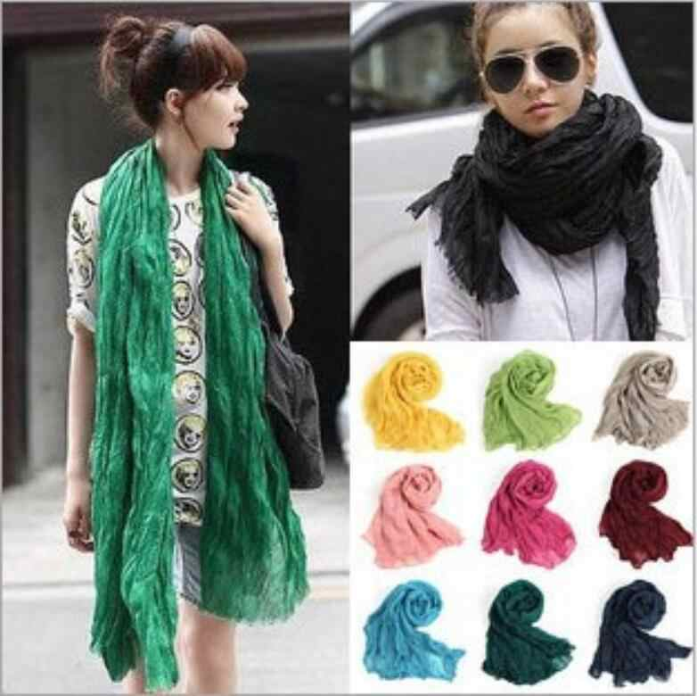 Designer Luxe Scarf Women  Spring Winter 50*180cm Cotton Linen Scarves Shawls And Wraps Boho pashmina Solid Color  Men Scarf