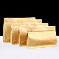 Horizontal Organ Eight Side Seal Kraft Paper Storage Bag Stand Packing Food Zipper Ziplock Resea Tea Nut Goods Dried Grain Snack