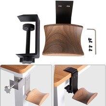 Jinserta suporte de fones de ouvido de madeira liga de alumínio clipe de bloqueio de mesa suporte de fone de ouvido fácil instalar exibição cabide