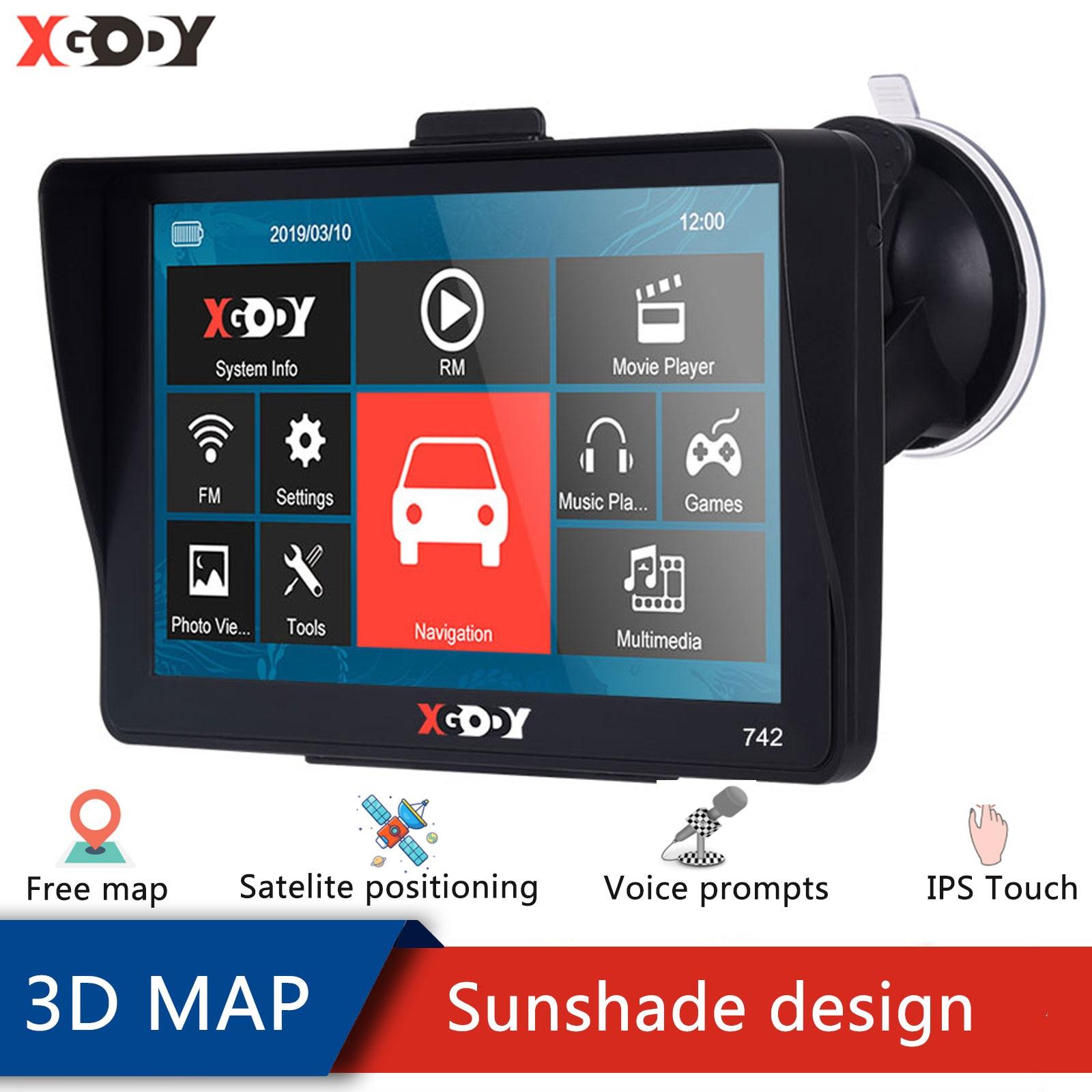 Xgody автомобиля GPS навигации 7 дюймов GPS 256 м + 8 Гб 742 для грузовых автомобилей, GPS автомобильный навигатор спутниковой навигации Bluetooth Сенсорный...