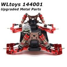 Wltoys 144001 peças para wltoys-s 1:14 rc carro atualizado acessórios de metal direção balanço braço base traseiro hub assento servo puxar haste