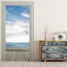 3d обои для дверей голубое небо и белые облака море гостиной